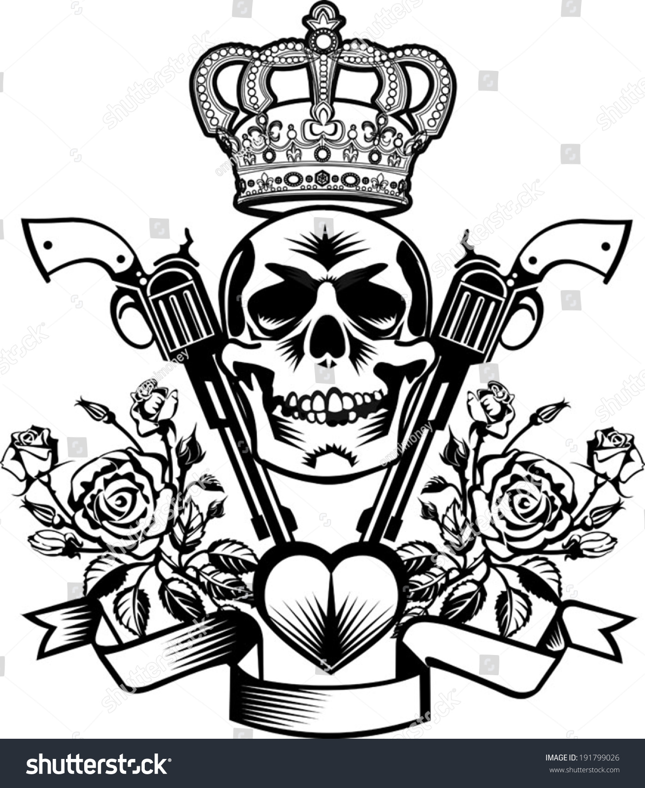 Drawings Of Pistols And Roses Tattoo Skull Guns With Crown