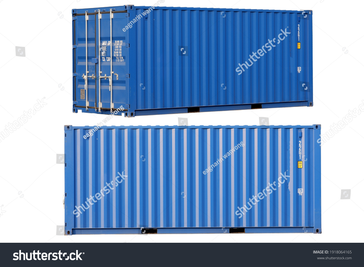 Blue container Cut the white background for easy use. #1918064165