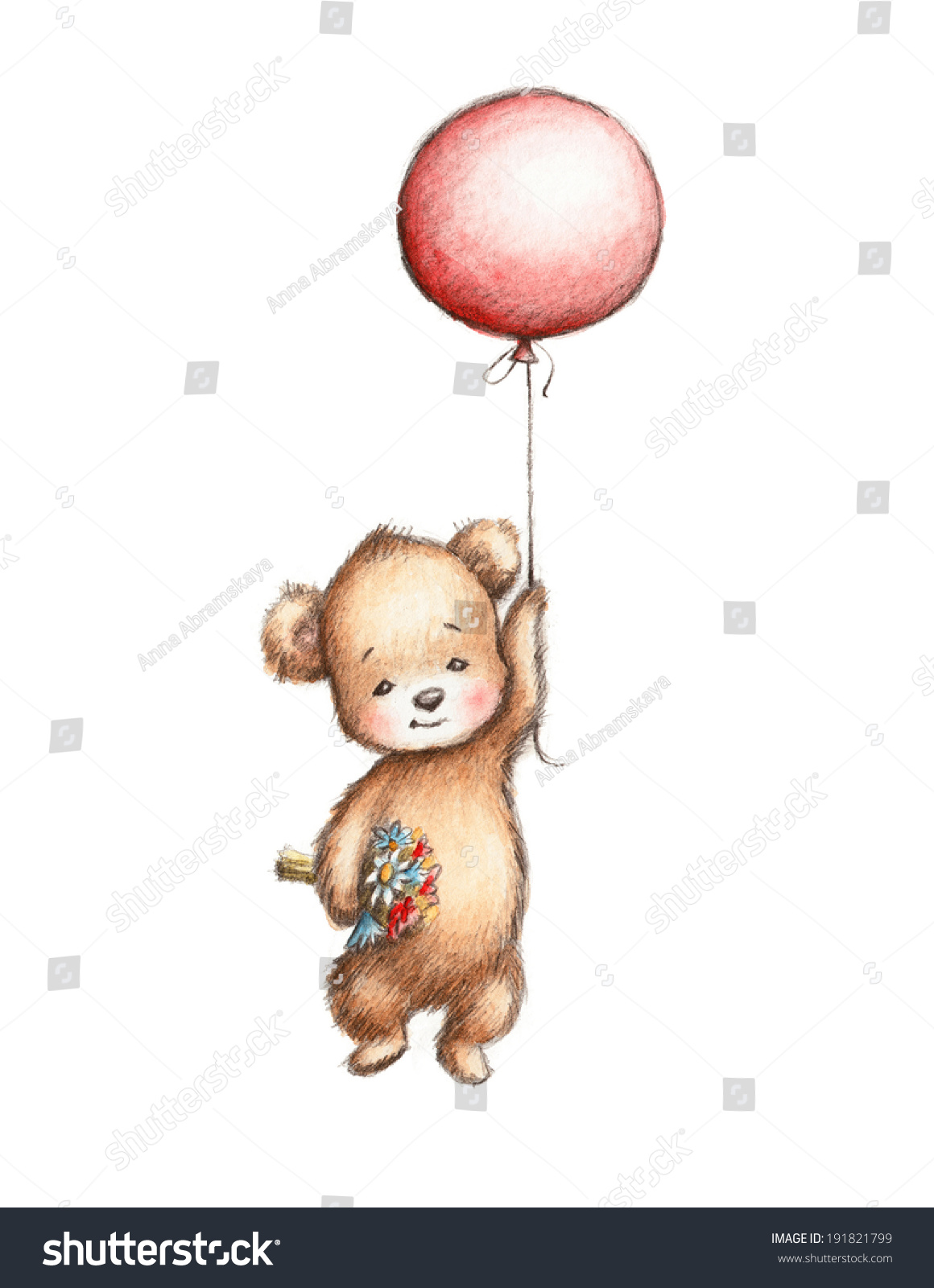 The Drawing Of Teddy Bear With Red Stock Photo 191821799