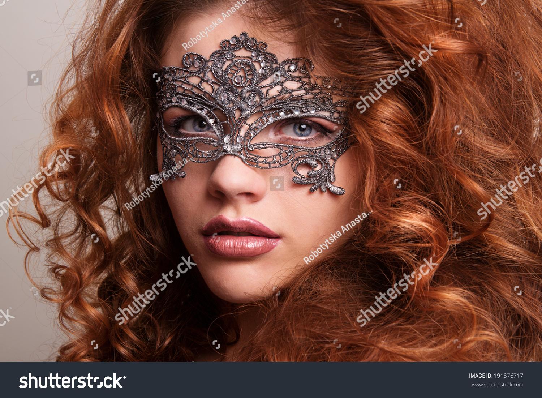 Beautiful Girl Carnival Mask Masquerade Beauty Stock Photo ...