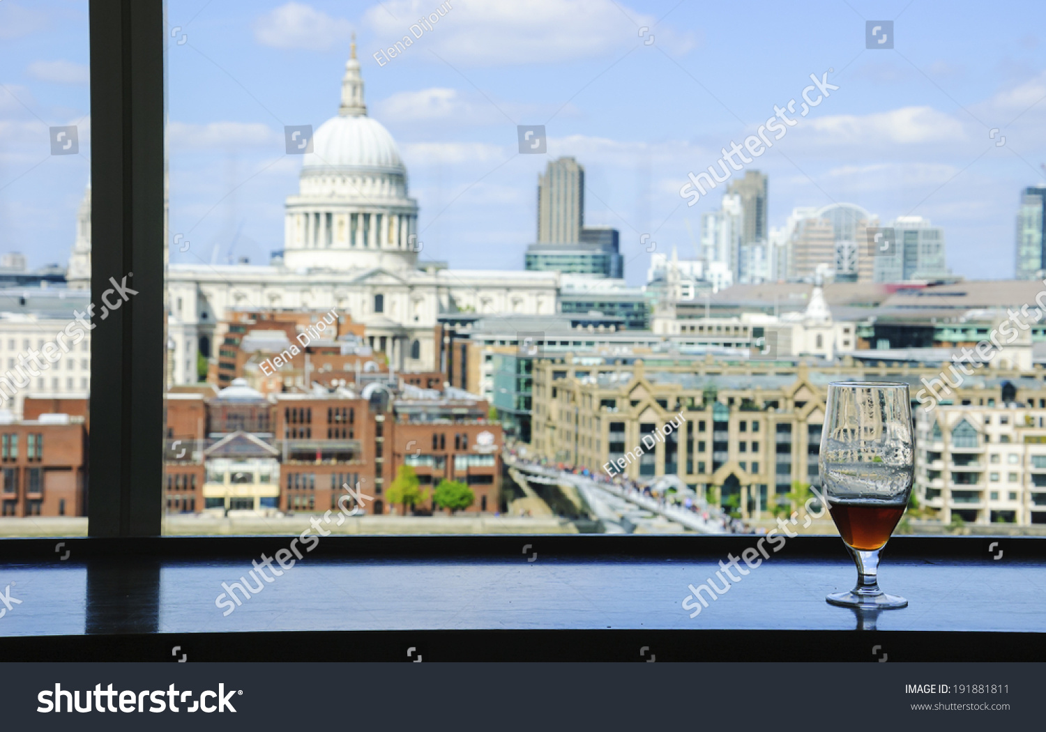 A Glass Of Beer And A View From Tate Modern Galleryus Cafe On St Paul  Cathedral.
