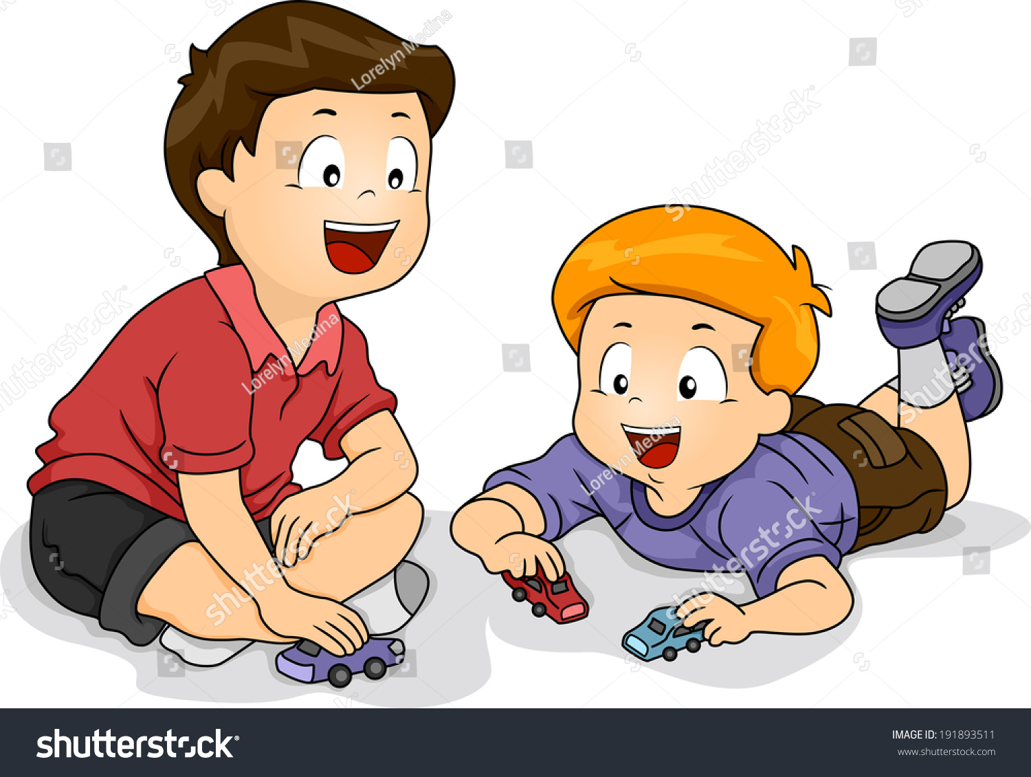 Little Boy Toys Clip Art : Illustration featuring little boys playing toy stock