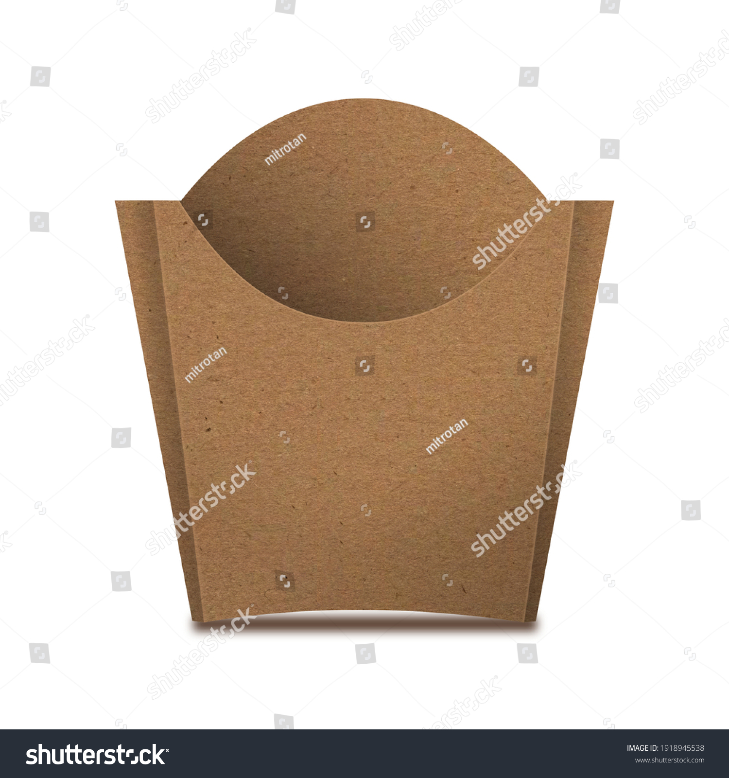 Kraft Paper French Fries Medium Size Packaging Box – Front View. Fast-food paper packaging box for french fries, fried potato chips, fried chicken and similar food. #1918945538