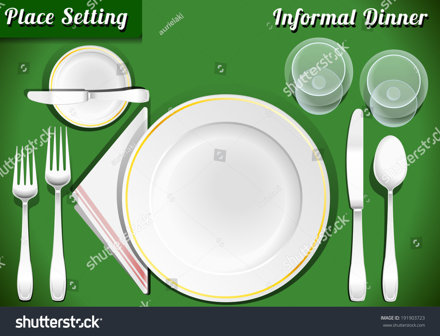 Setting Place Formal Placemat Place Setting Stock