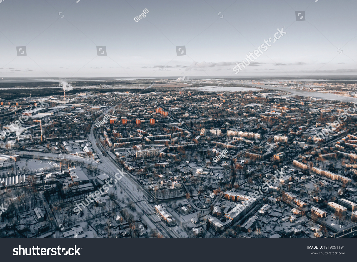 View at city from bird sight. City from drone. Aerial photo. City scape from drone #1919091191