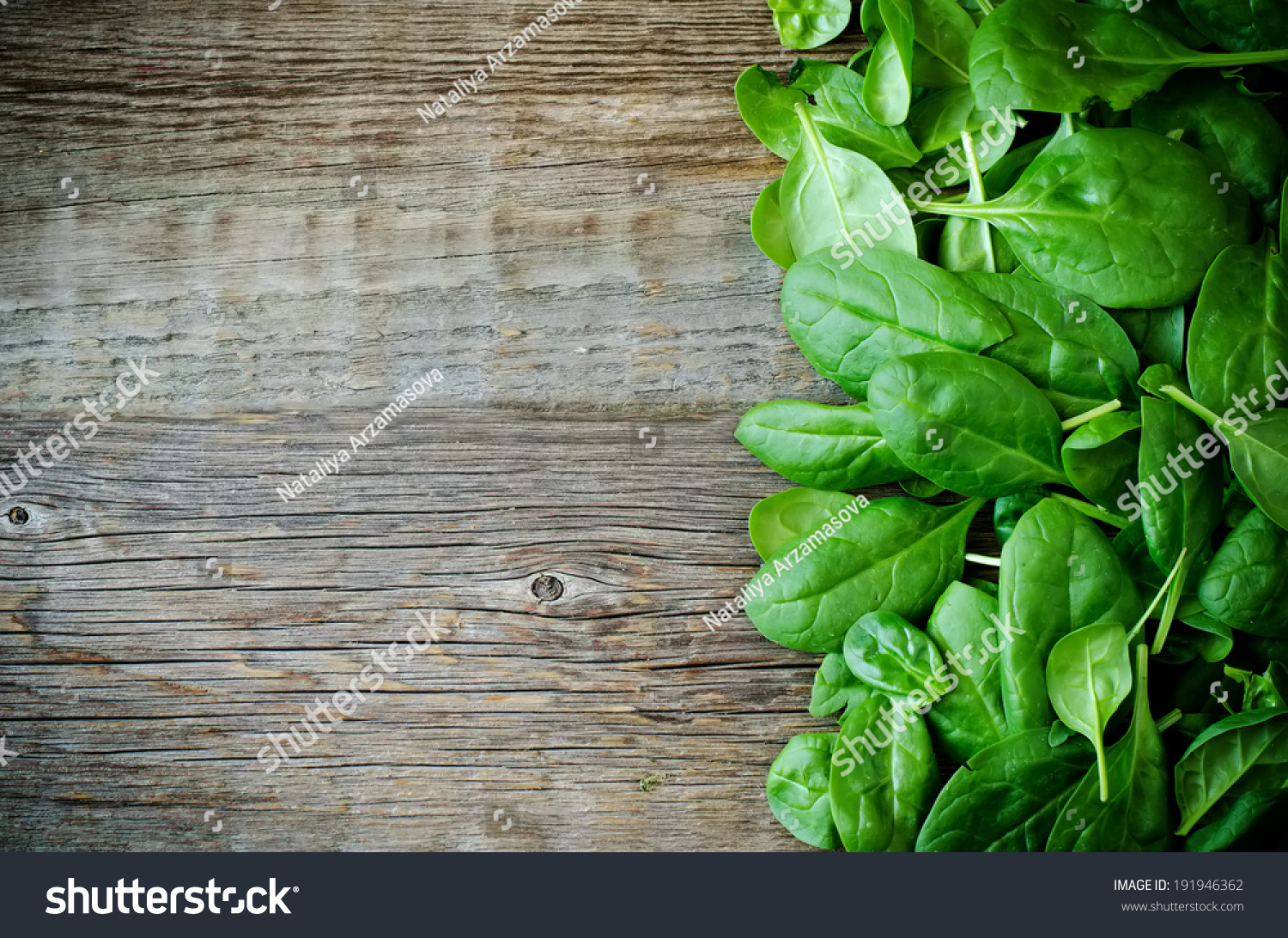 Bunch Spinach Leaves On Dark Wood Stock Photo 191946362 ...