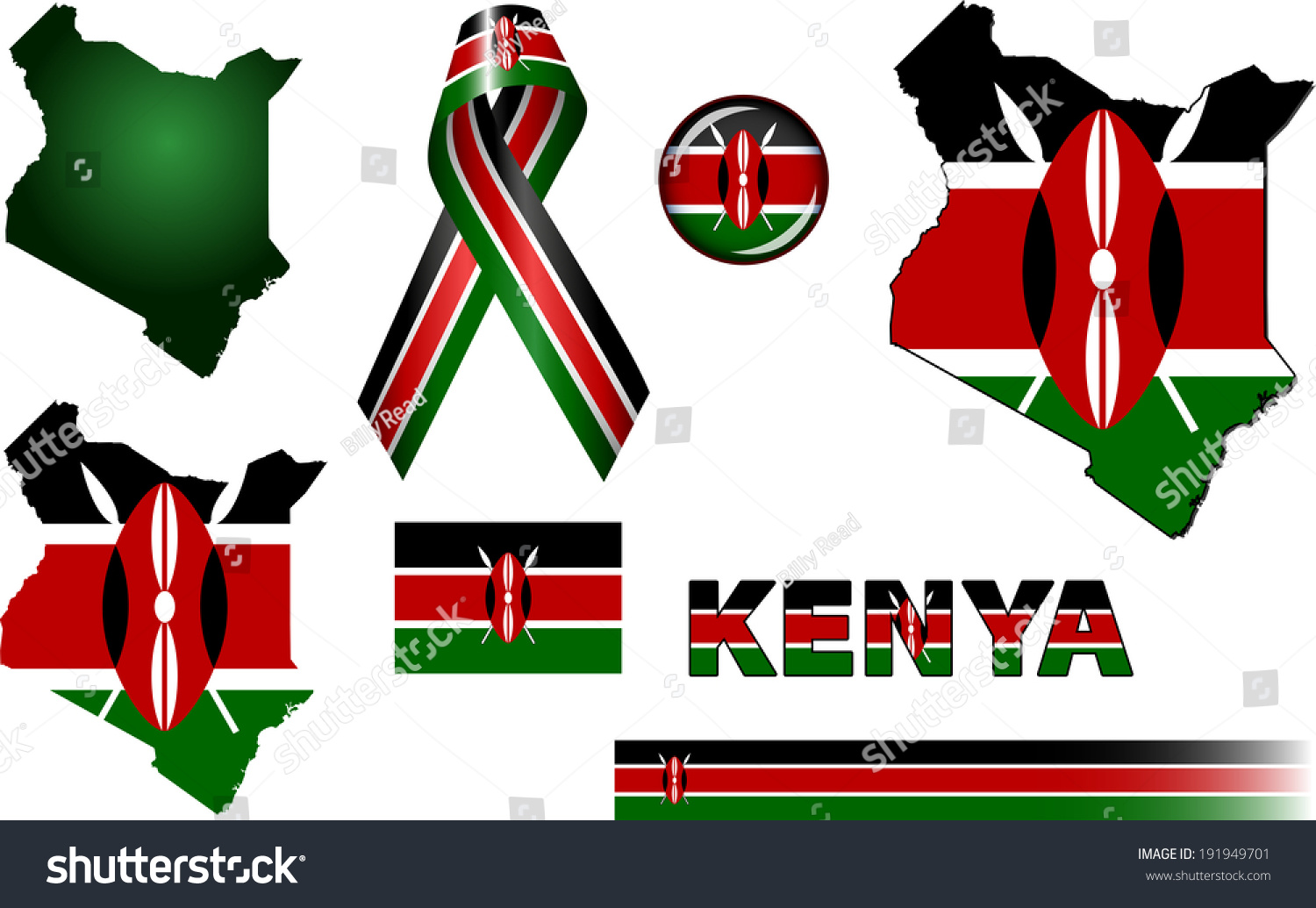 Kenya Icons Set Vector Graphic Icons Stock Vector Royalty Free