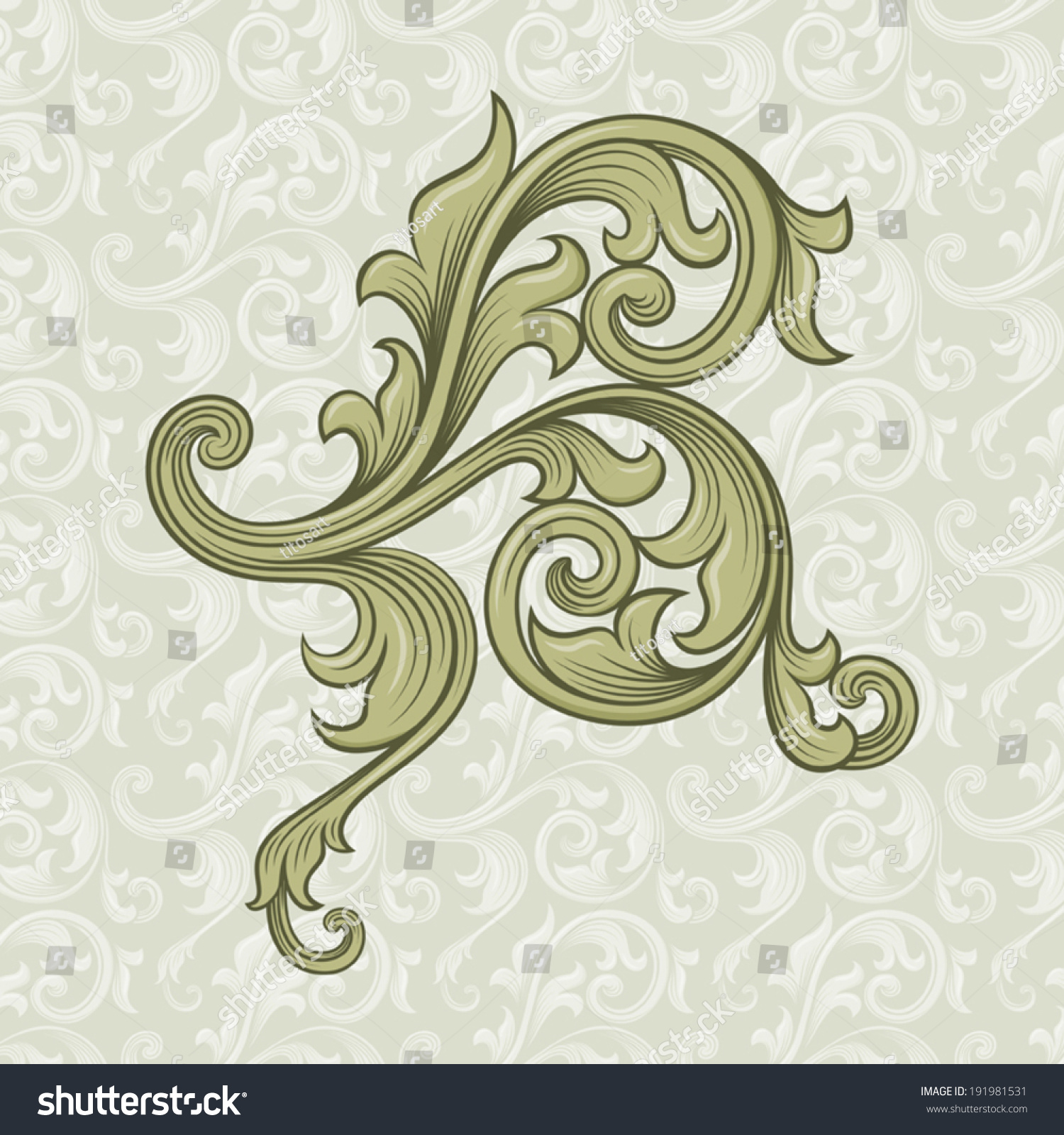 Antique Scroll Design: Vintage Baroque Scroll Design Element Motif Stock Vector