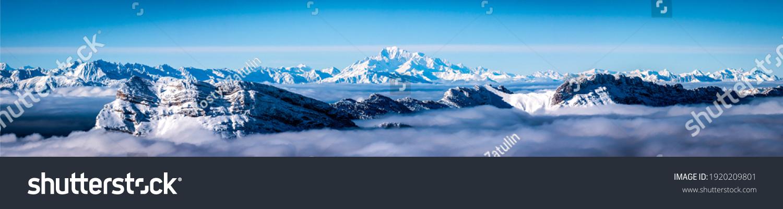 Mountain snow peak cloud panorama #1920209801