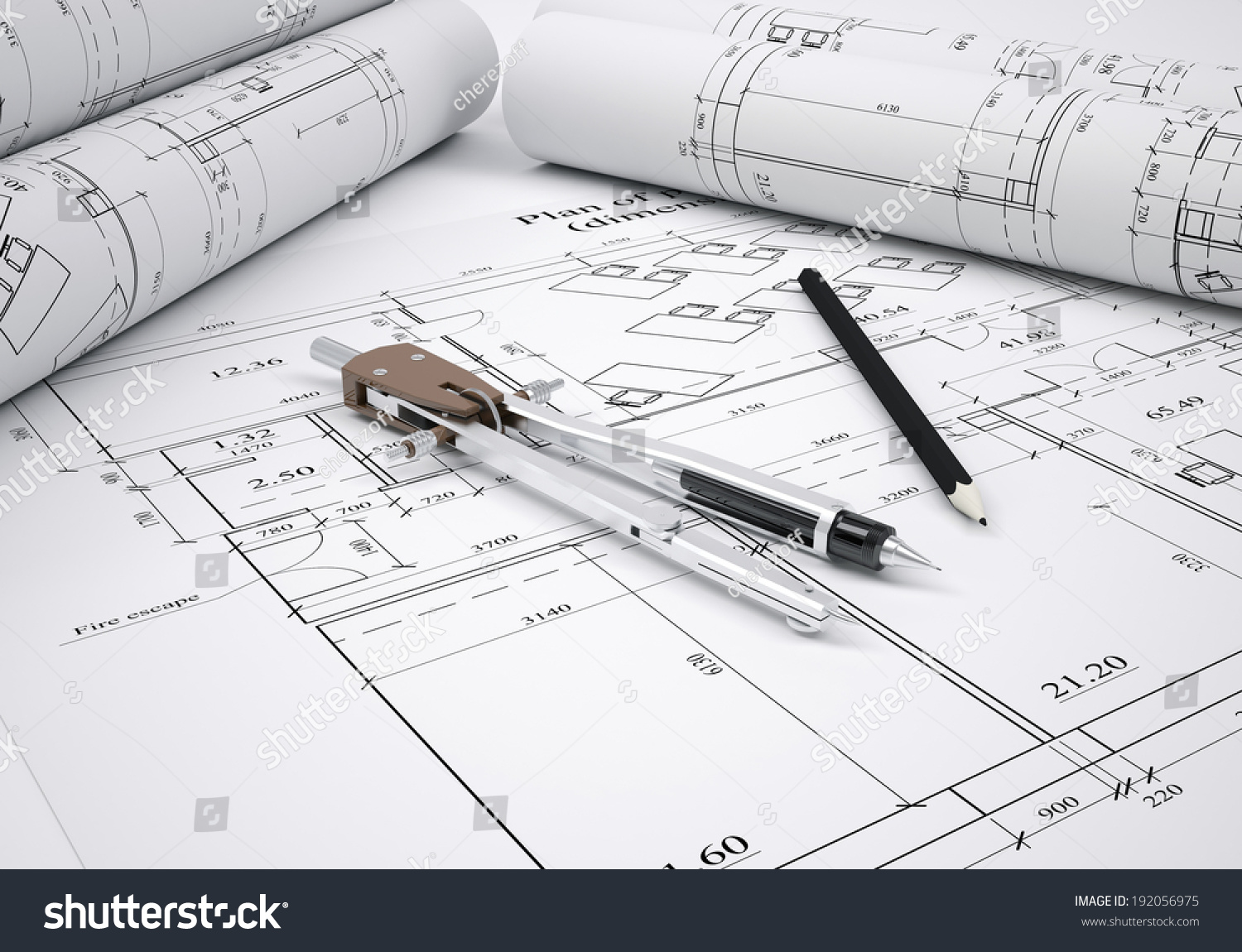 architectural drawings. Scrolls Architectural Drawings And Tools. Architect Concept