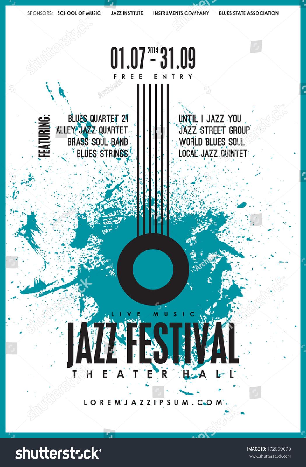 Jazz Music, Poster Background Template. Vector Design. - 192059090 ...