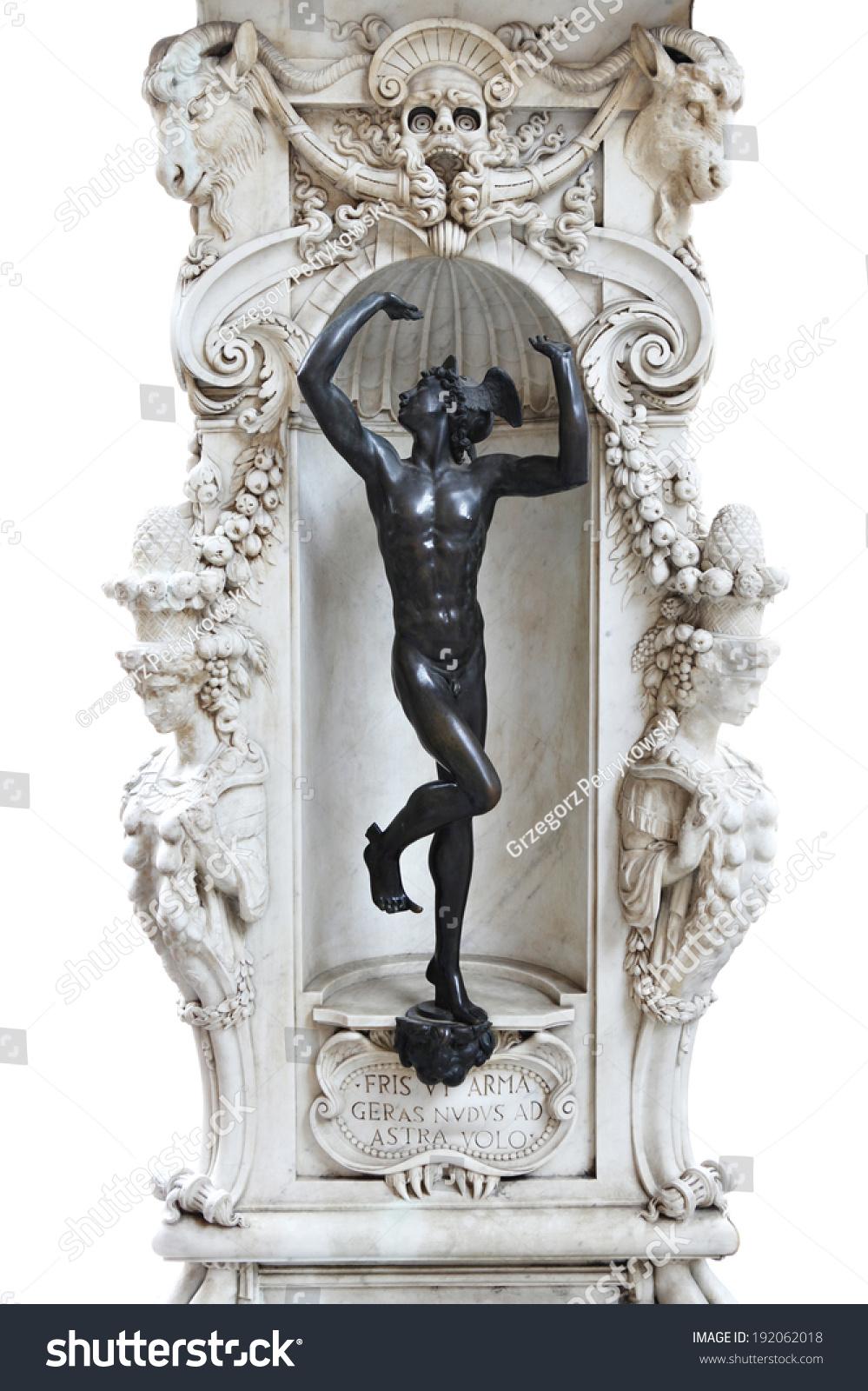 Statue Hermes Part Marble Base Pereseus Stock Photo ...