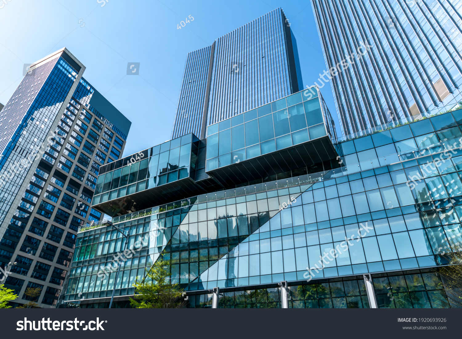 Looking up at the commercial buildings in downtown Guangzhou, Ch #1920693926
