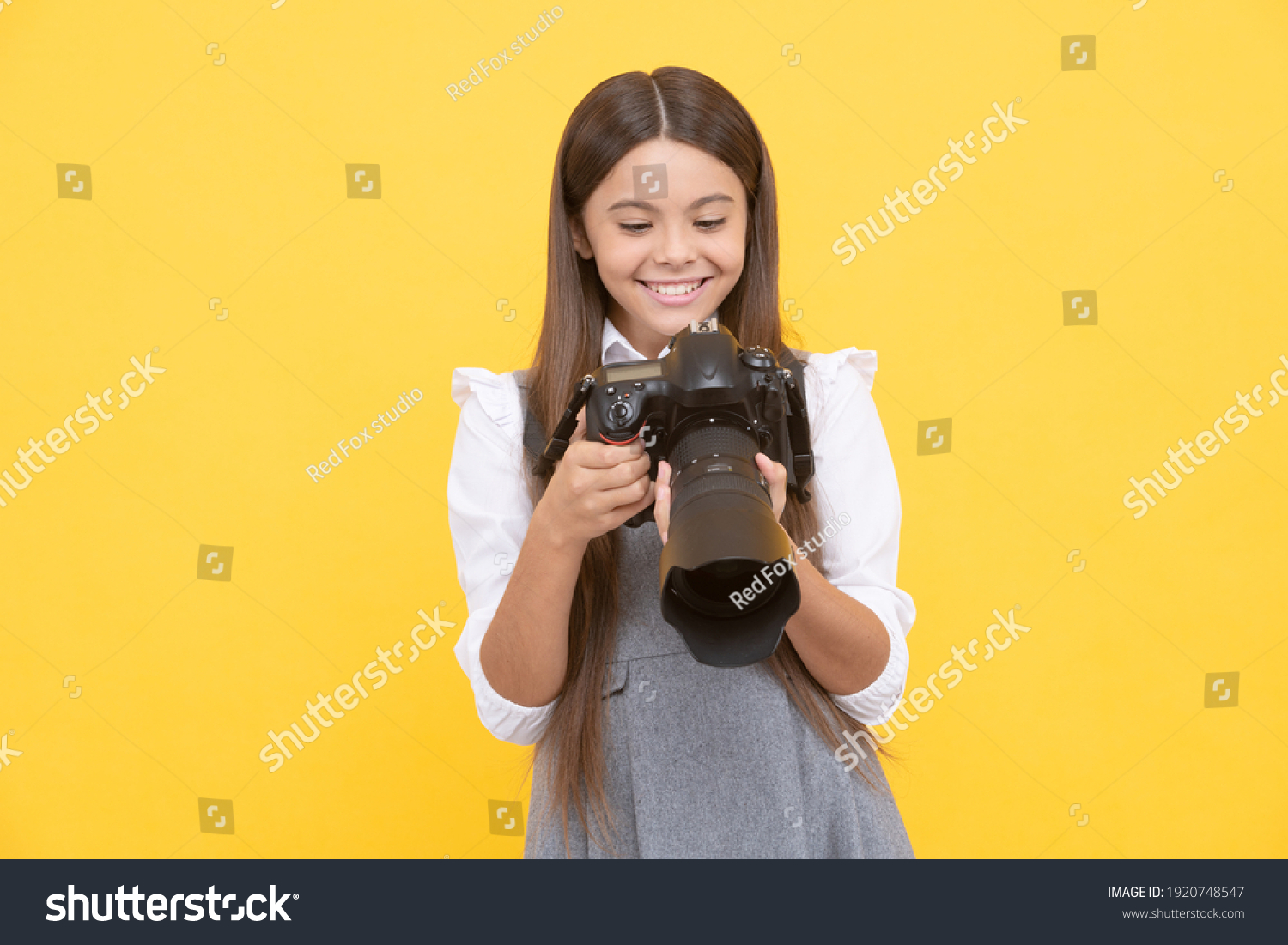 nice shot. school of photography. hobby or future career. photographer beginner with modern camera. making video. childhood. teen girl taking photo. kid use digital camera. happy child photographing. #1920748547