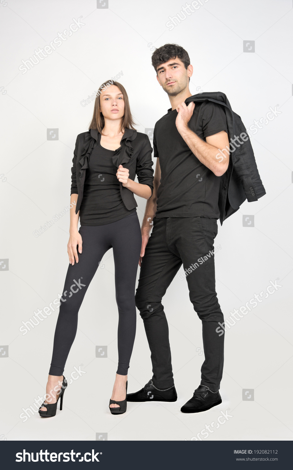Female Male Fashion Models Wearing Black Stock Photo ...