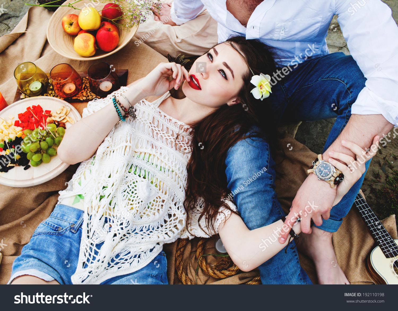 Pretty Young Hippie Girl Motley Boho Stock Photo 192110198