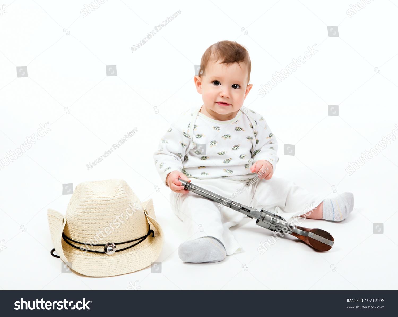 c312d0c80a632 Little Boy Cowboy Hat Revolver On Stock Photo (Edit Now) 19212196 ...