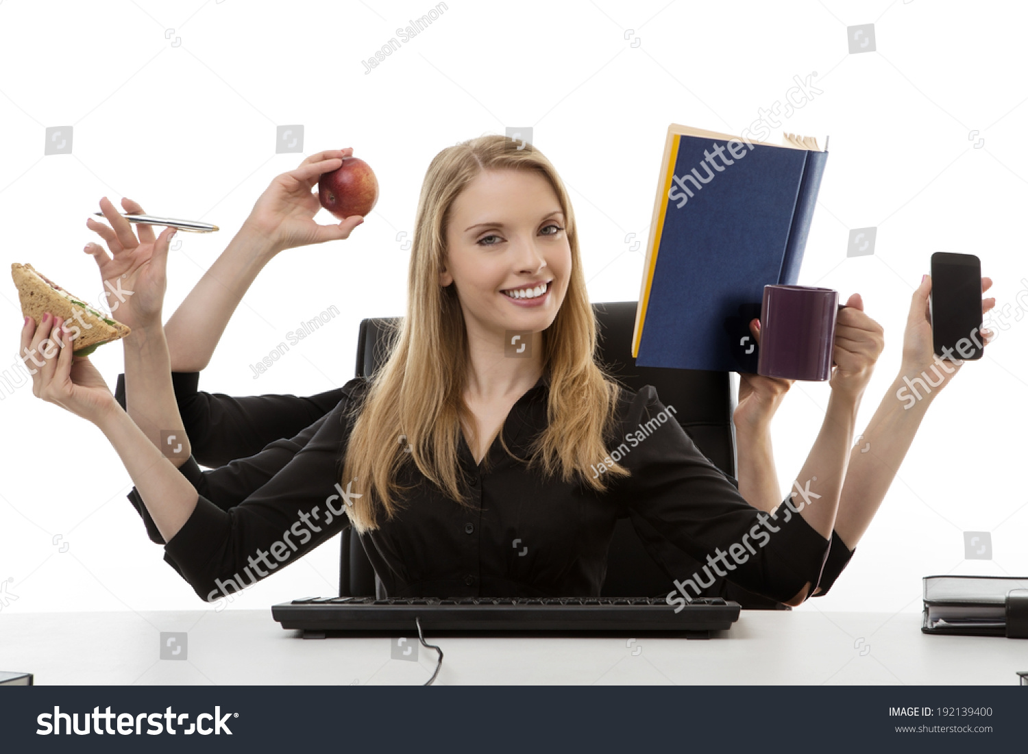 Busy Business Woman Multitasking Office Six Stock Photo ...