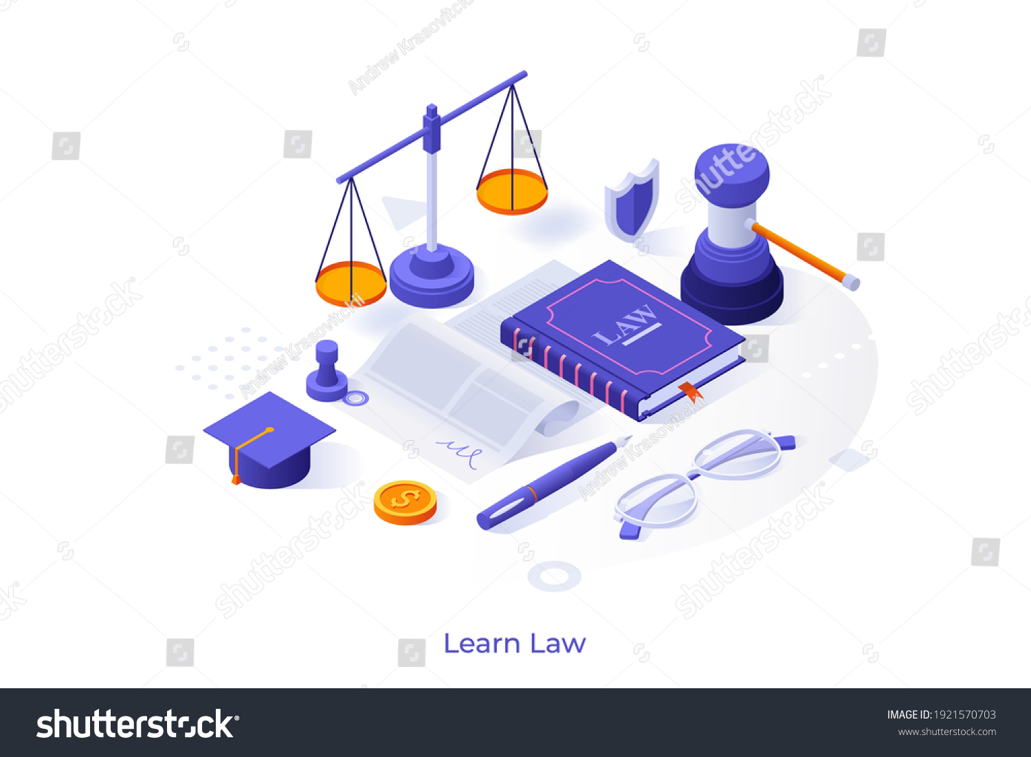Conceptual template with book, scale, document, gavel, graduation cap. Scene for learning law, studying jurisprudence, legal protection course. Modern isometric vector illustration for website. #1921570703
