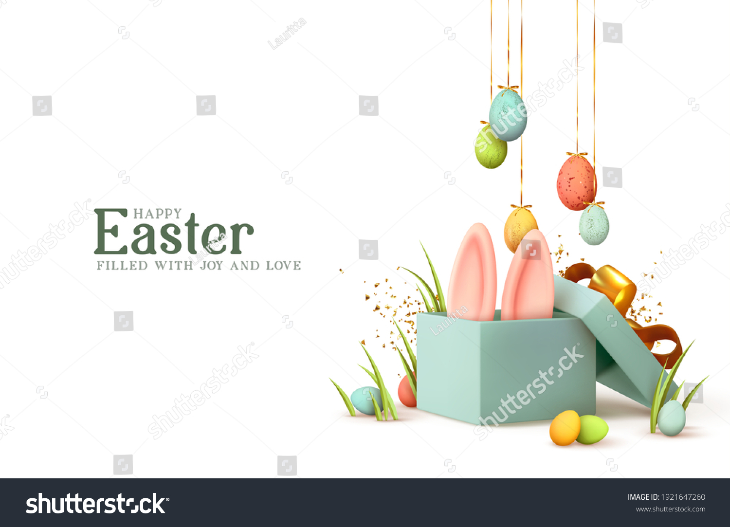 Easter day design. Realistic blue gifts boxes. Open gift box full of decorative festive object. Holiday banner, web poster, flyer, stylish brochure, greeting card, cover. Spring Easter background #1921647260