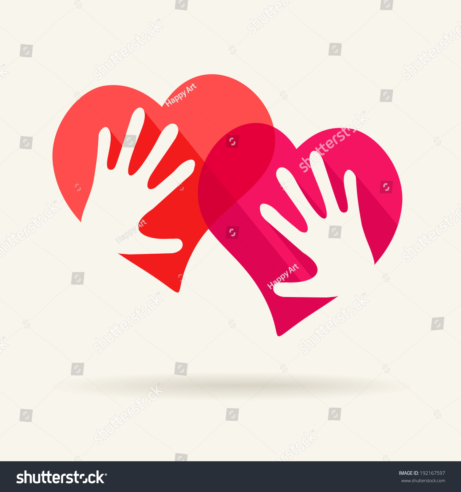 Two Hearts Two Hands Symbol Love Stock Vector Royalty Free
