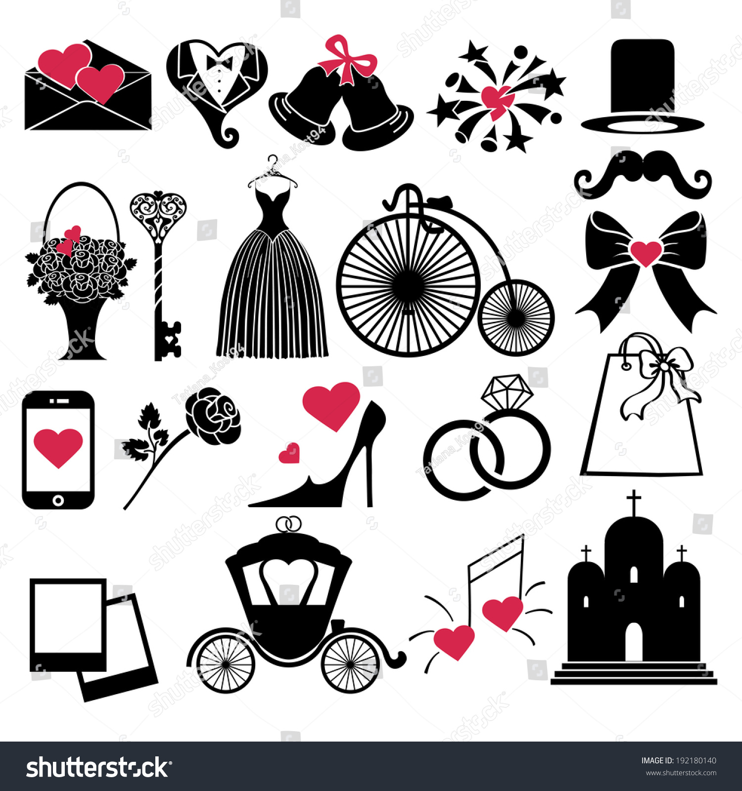 Wedding Icons Set Love Flat Vector Stock Vector 192180140