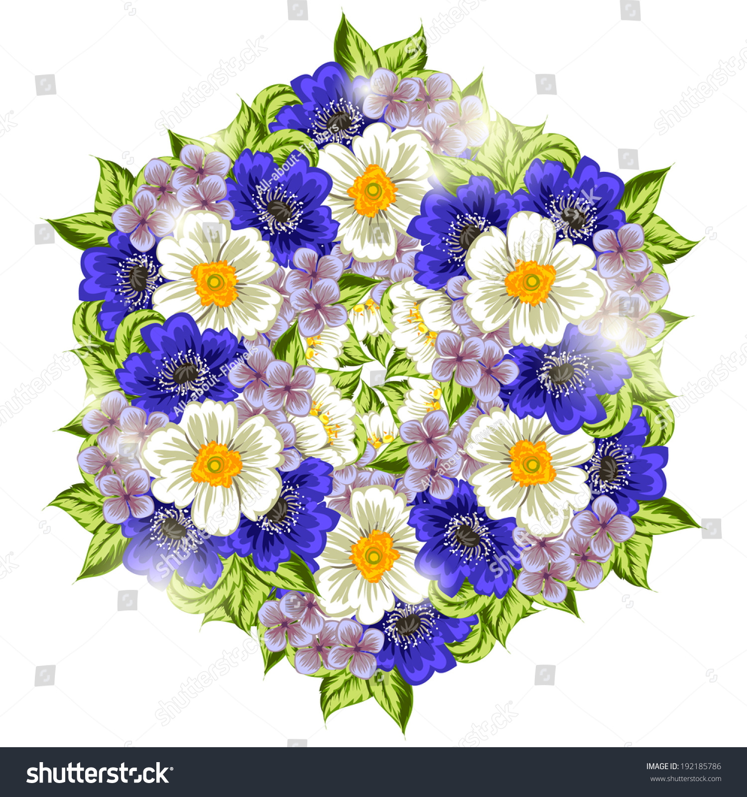 Aster And Wild Flowers Flowers Bouquet Isolated On White Ez Canvas