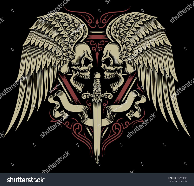 Two Faced Skull Wings Sword Stock Vector 2018 192193319 Shutterstock