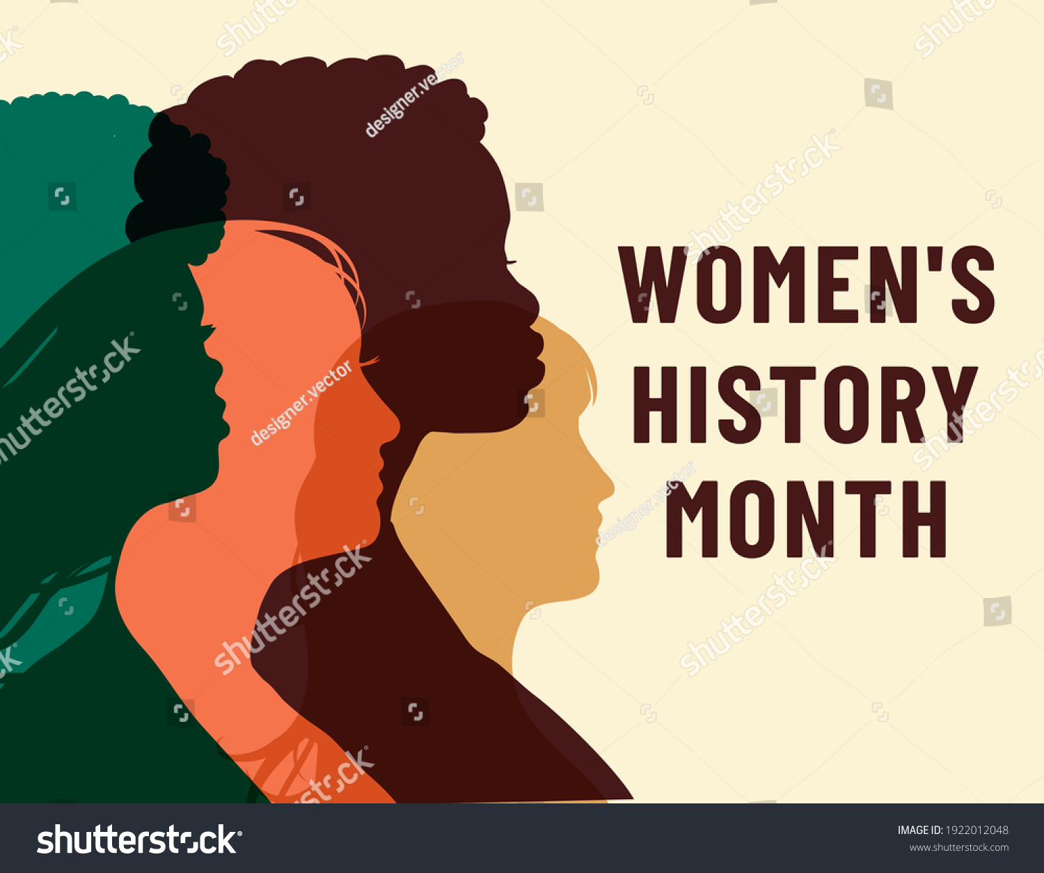 Womens History Month. Women's day. Poster with different women. 8 march #1922012048