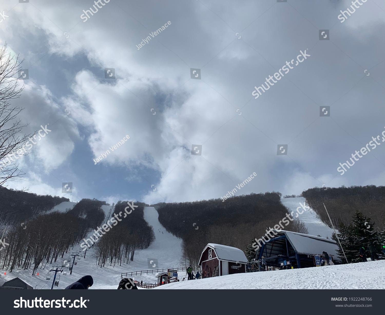 stock-photo-four-parallel-ski-slopes-wit