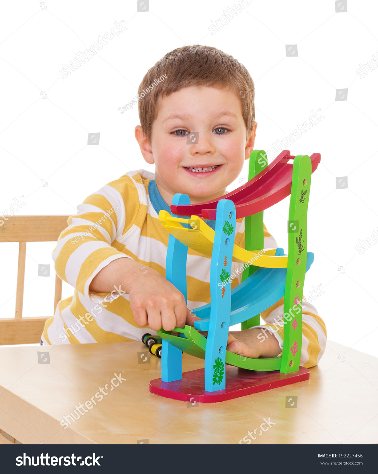 Threeyearold Boy Plays Toys Table Stock Shutterstock