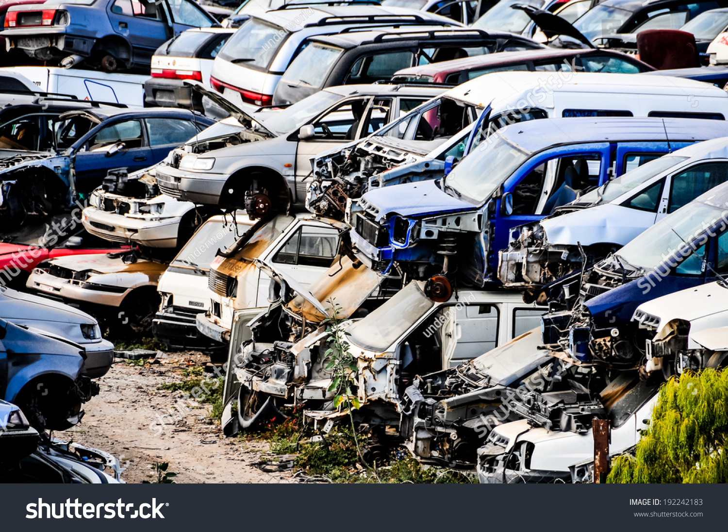 Scrap Yard Pile Crushed Cars Tenerife Stock Photo (Royalty Free ...