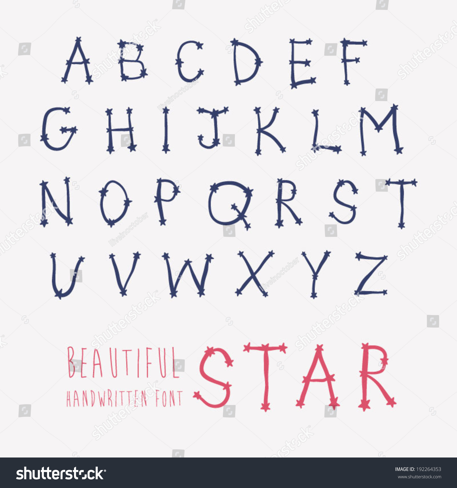 handwritten font cute hand drawn alphabet stock vector (royalty free