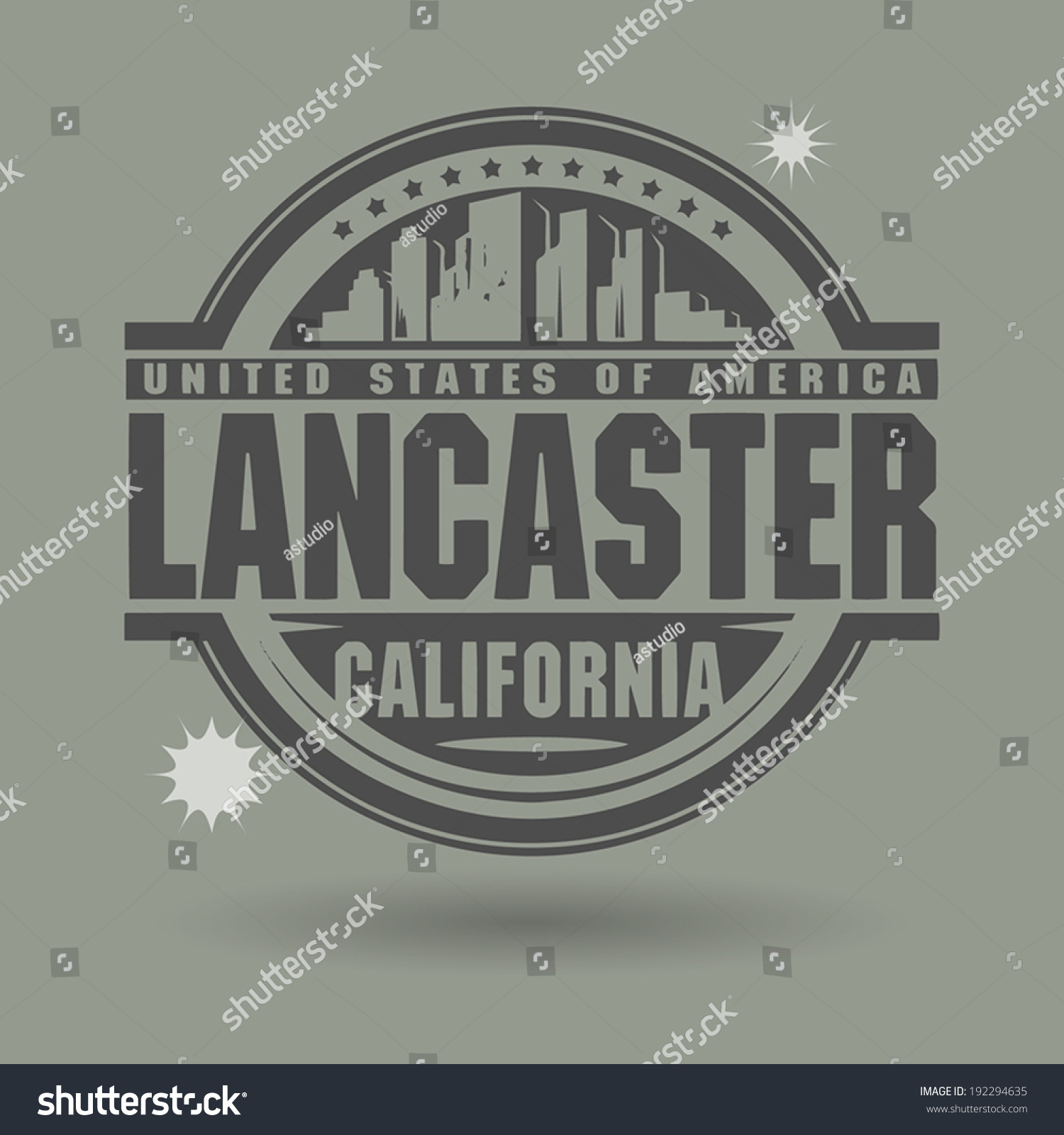 Stamp Label Text Lancaster California Inside Stock Vector