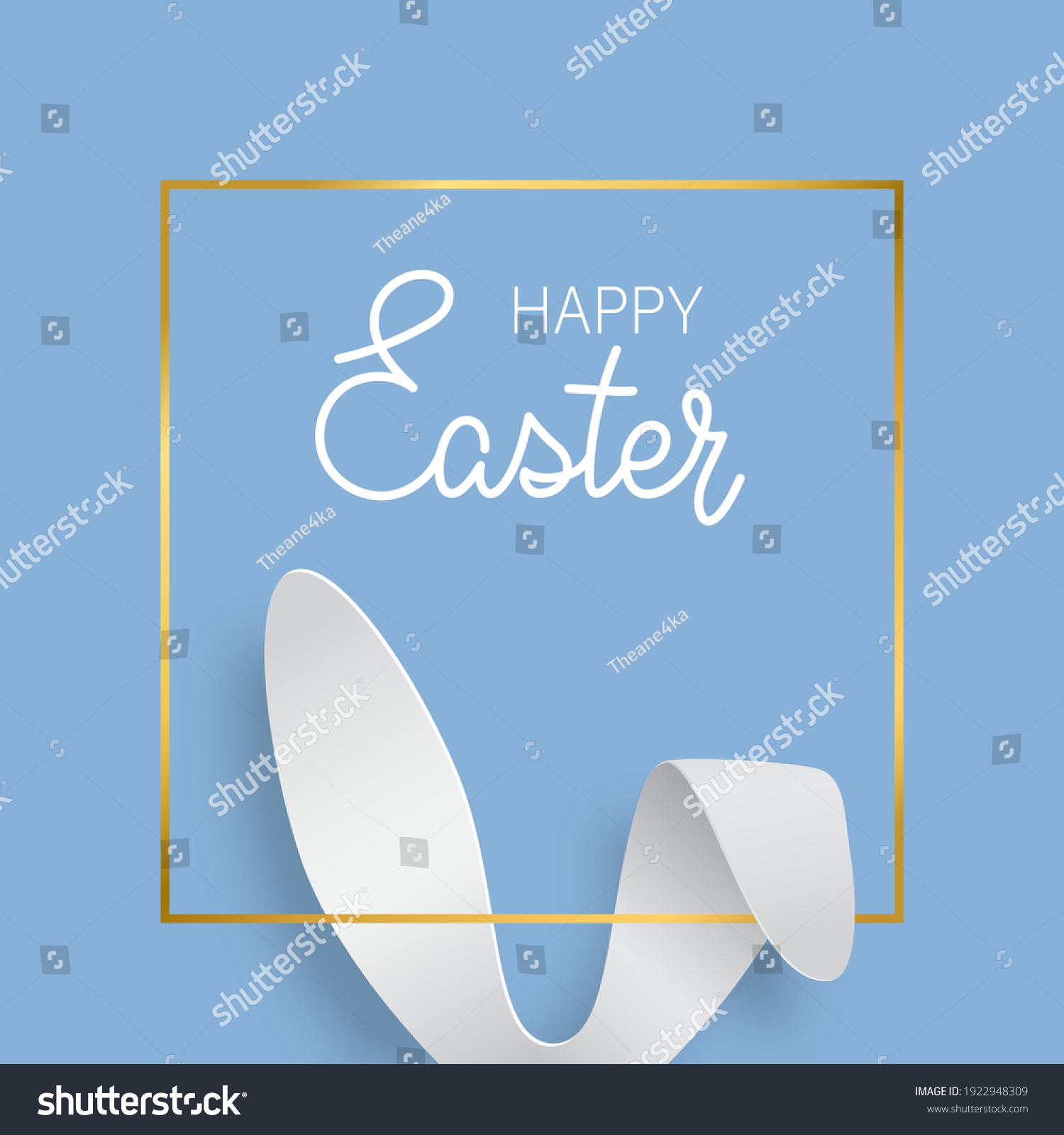 Easter greeting card with bunny ears and gold texture frame. Vector 3d abstract paper cut illustration. Copy space for text. Easter rabbit with lettering Happy Easter on blue background. #1922948309