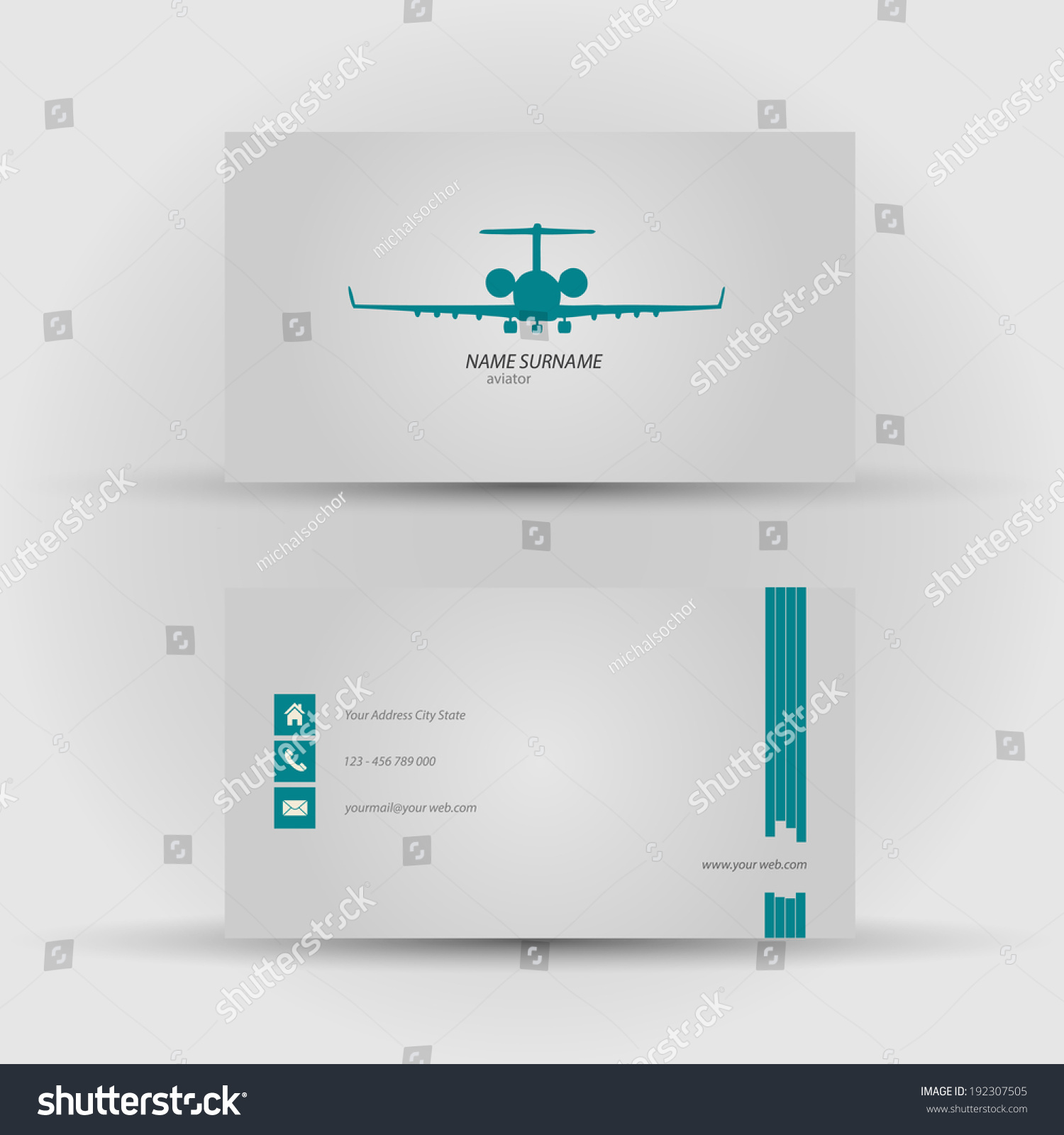 Set Modern Vector Business Card Template Stock Vector 192307505 ...