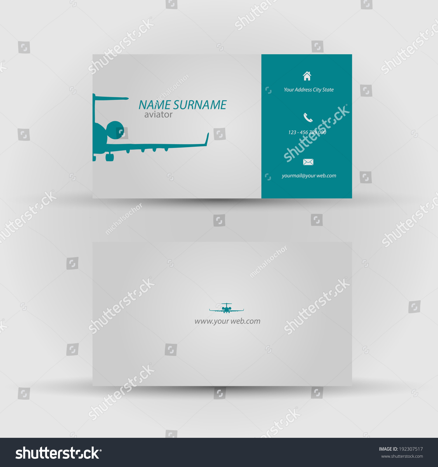 Set Modern Vector Business Card Template Stock Vector 192307517 ...