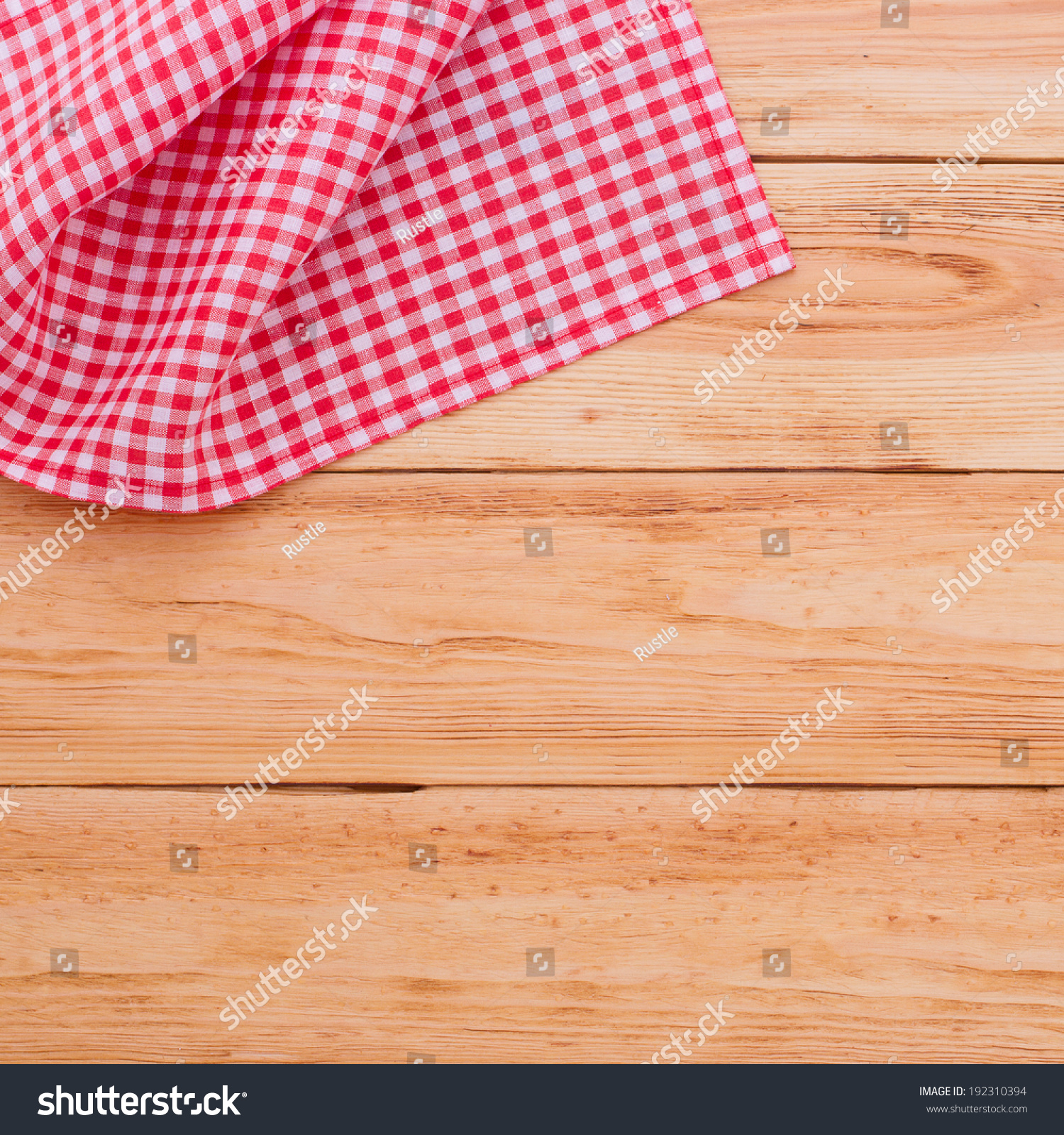 Kitchen Table Close Up recording menu recipe on red checkered stock photo 192310394