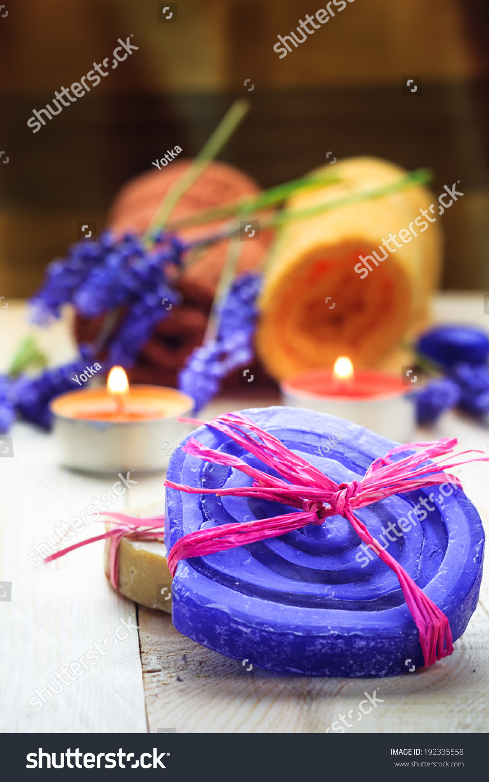Spa concept herbal soaps scented candles stock photo for Spa smelling candles