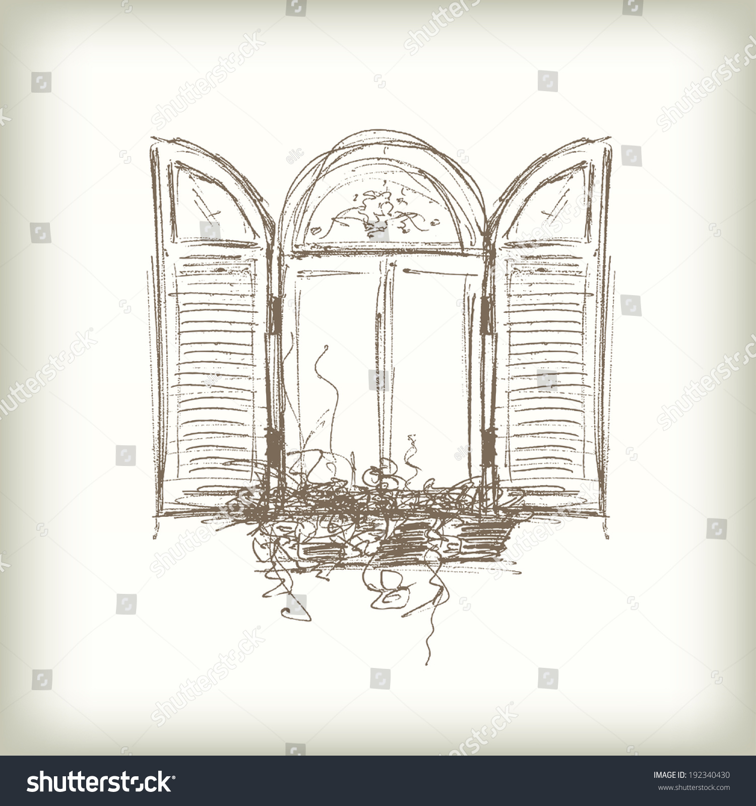 Scribble vector window drawn pencil sketch stock vector for Window design sketch