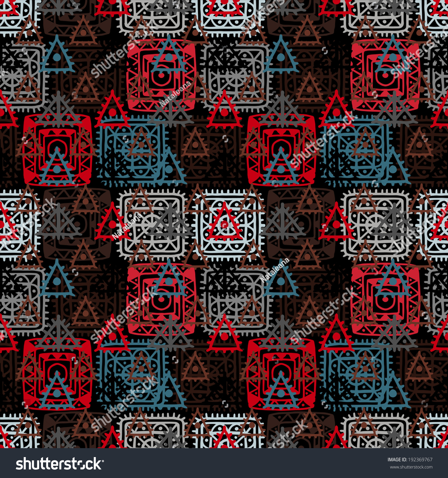 Colorful Abstract Decorative Ethnic Seamless Pattern Stock