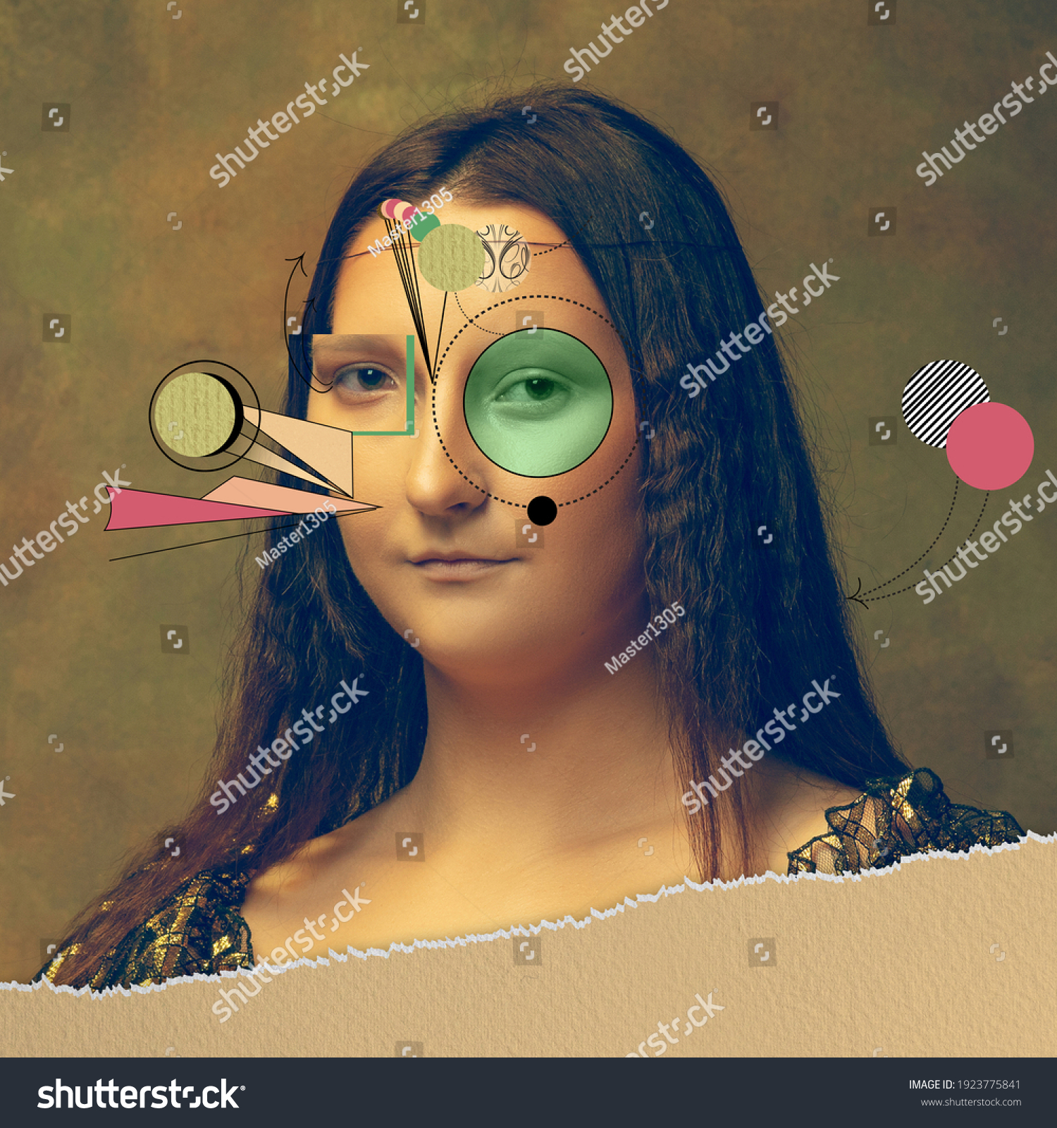Young woman as Mona Lisa replica isolated on dark green background. Comparison of eras concept. Beautiful female model like classic historical character, old-fashioned. Collage of contemporary art. #1923775841