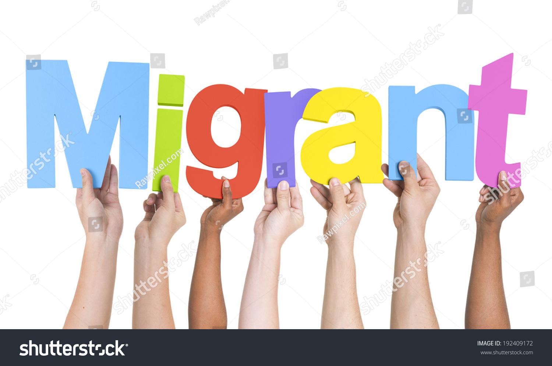 Multiethnic Arms Raised Holding Text Migrant Stock Photo ...
