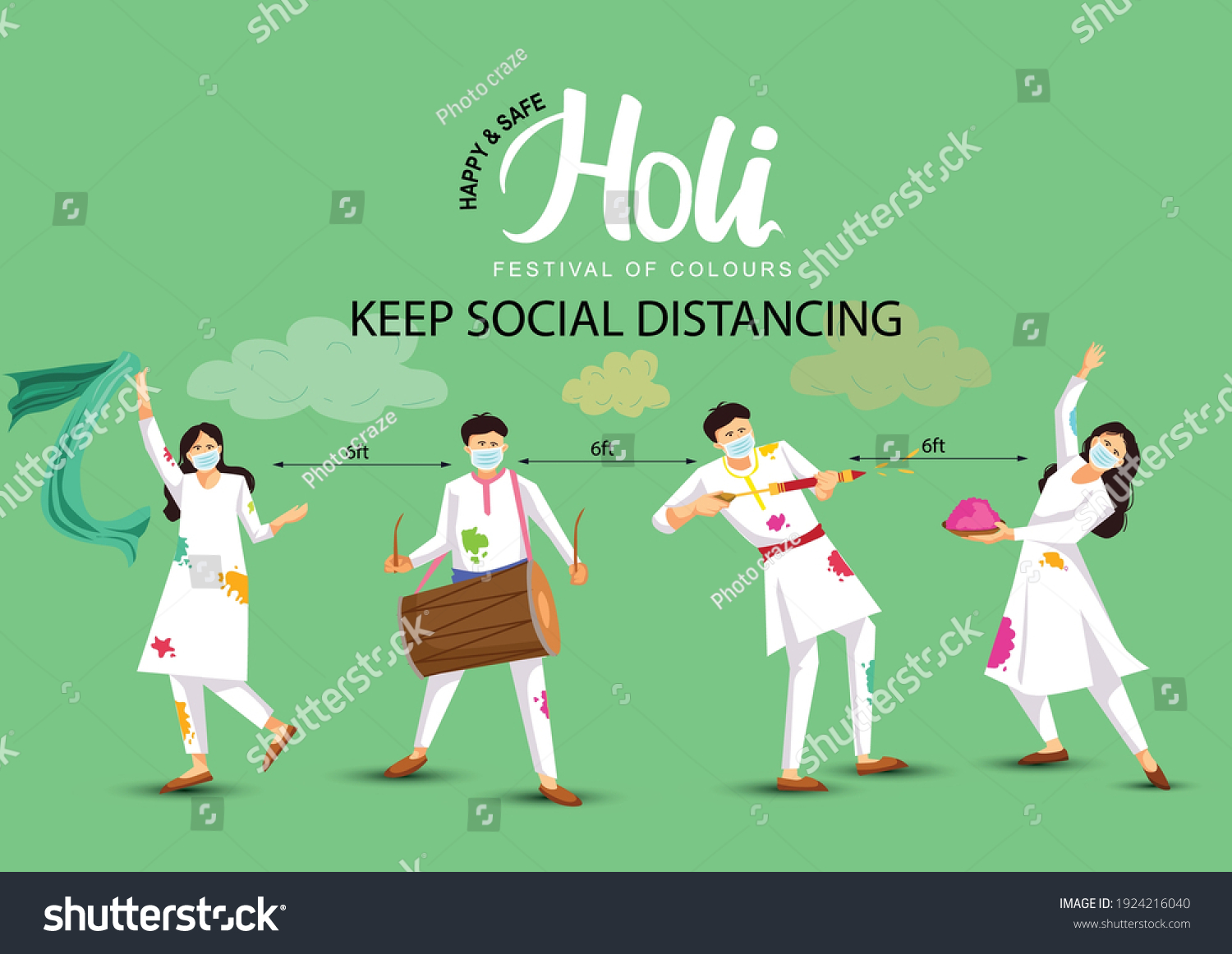 happy Holi. Cartoon Young people Playing Holi On White costume . vector illustration design. covid-19 corona virus concept #1924216040