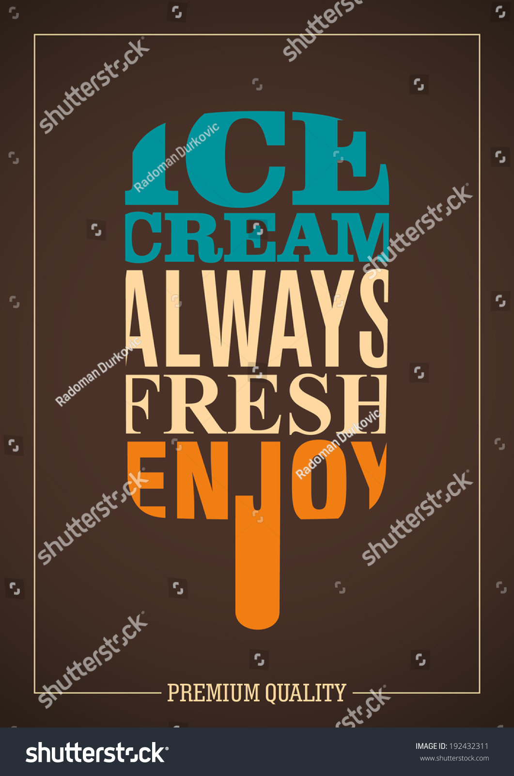 Poster design typography - Ice Cream Poster Design With Typography Vector Illustration