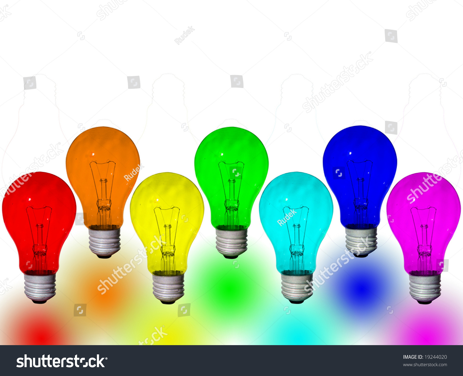 Rainbow Colored Light Bulbs Isolated Stock Photo 19244020 Shutterstock