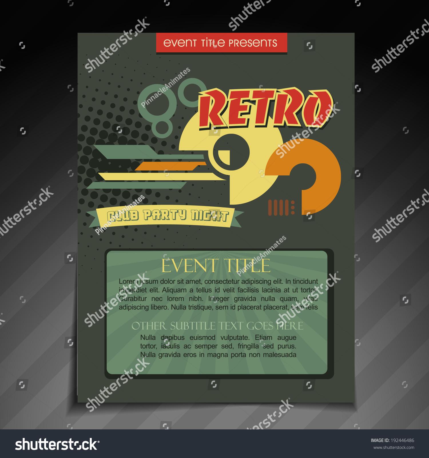 Vector Retro Brochure Flyer Template Design Vector 192446486 – Retro Brochure Template