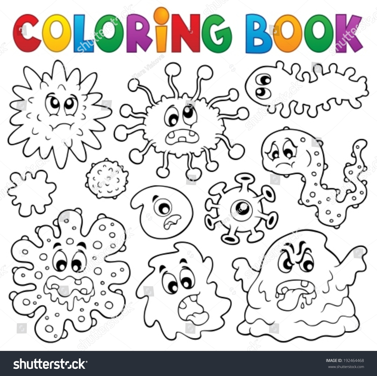 Free coloring pages germs - Coloring Book Germs Theme 1 Eps10 Vector Illustration