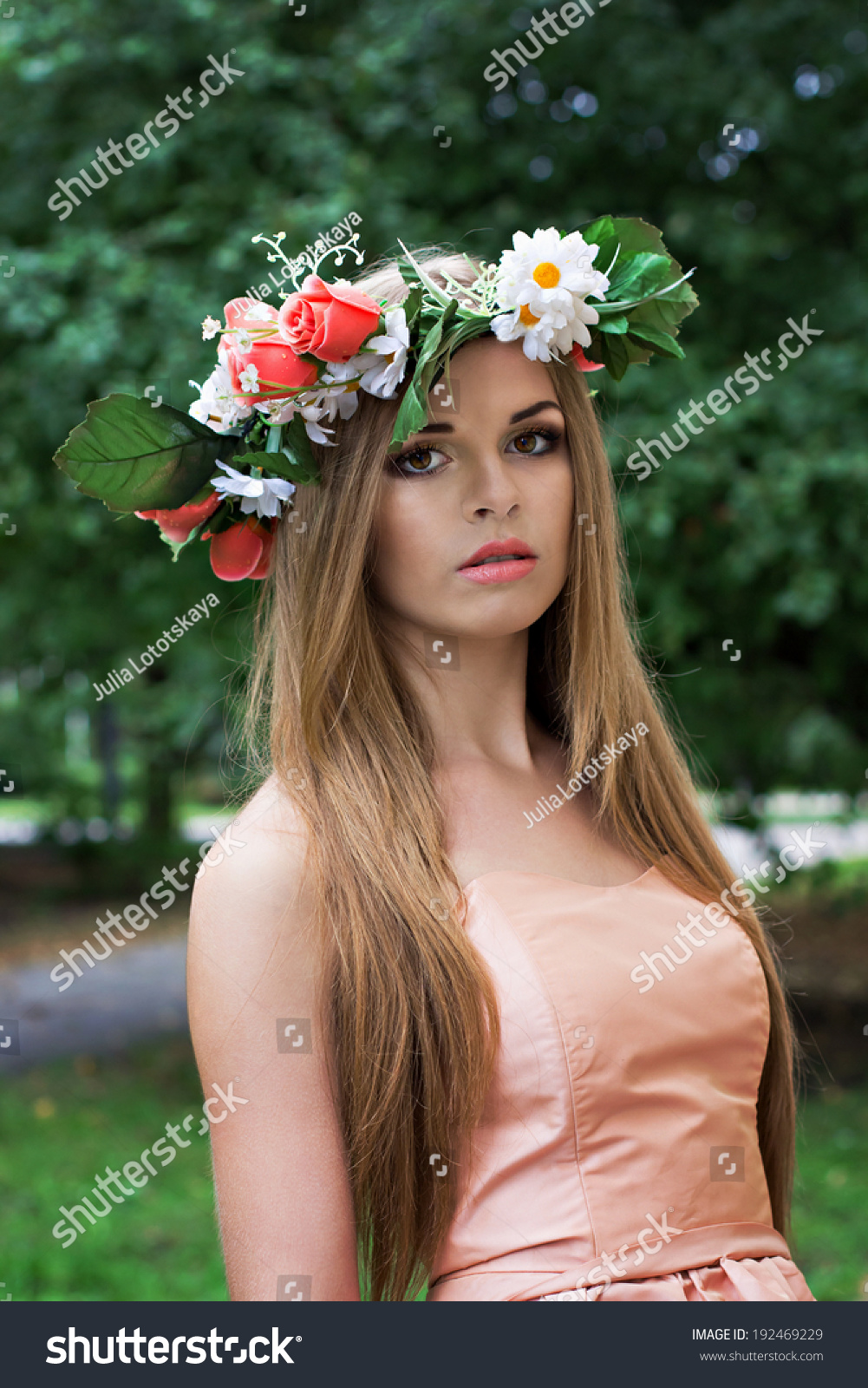 Beautiful Young Blonde Woman Flower Wreath Stock Photo (Edit Now ...