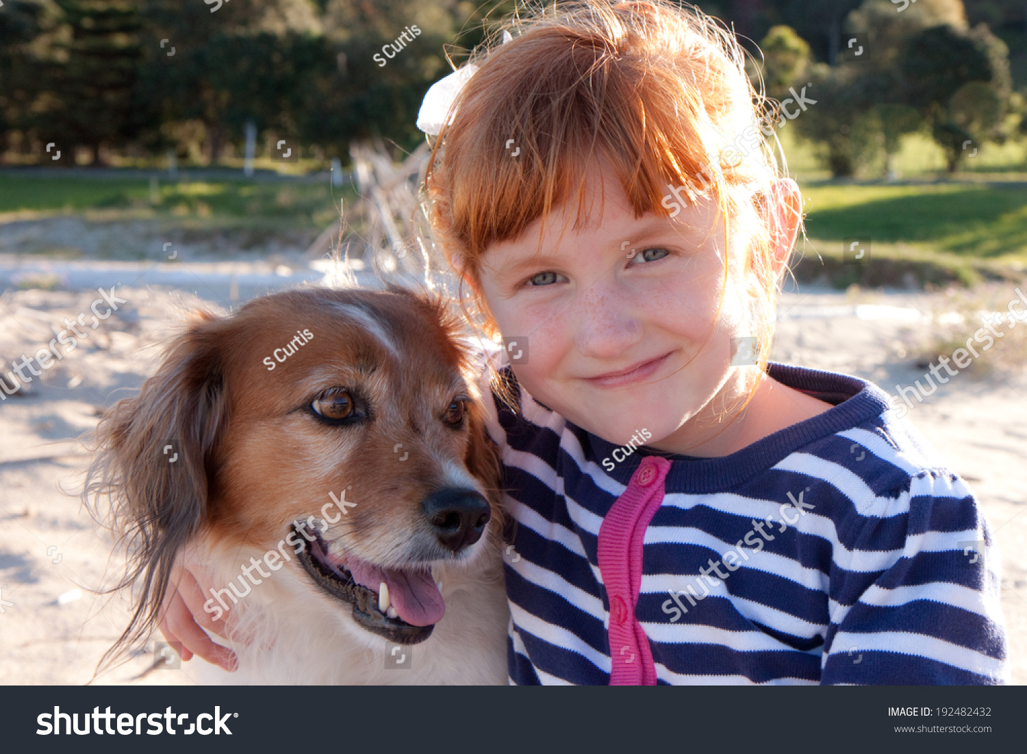 Red Headed Little Girl Hugging Her Red Haired Pet Dog ... - photo#44
